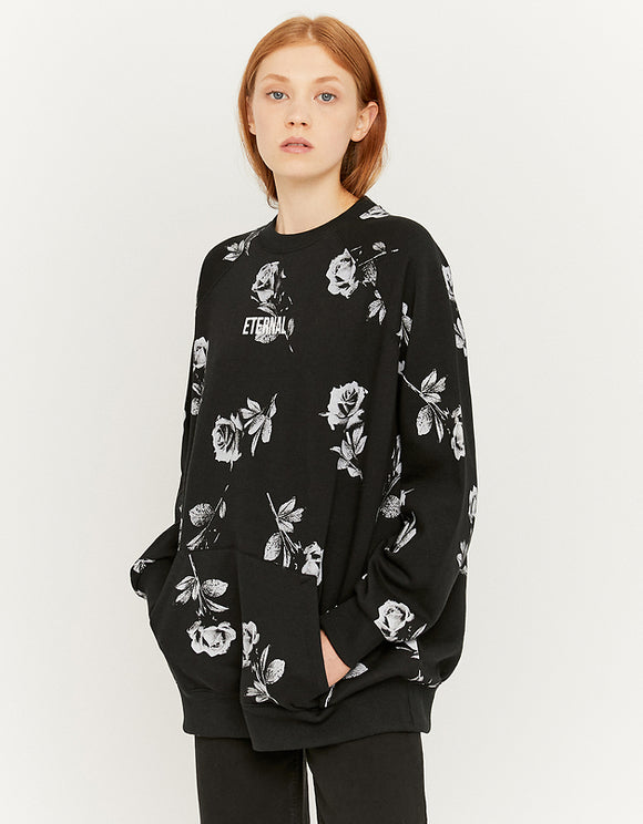 Women's Black Printed Eternal Oversize Sweatshirt