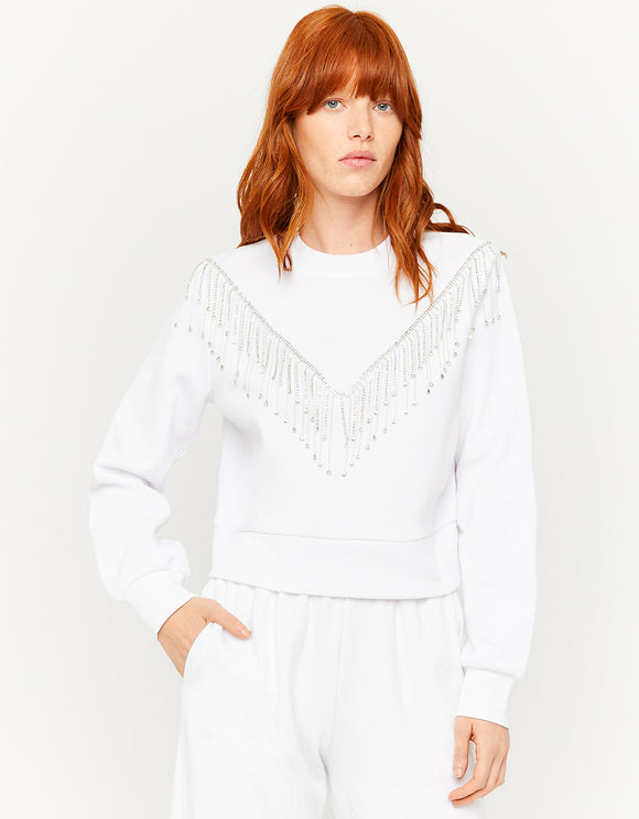 Women's White Sweatshirt with Fringes