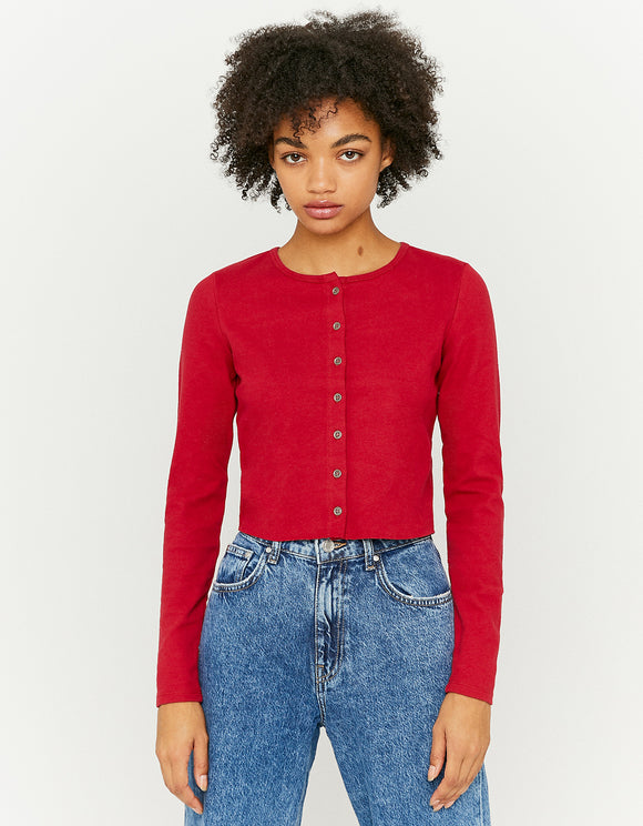 Women's Red Long Sleeve Buttoned Top