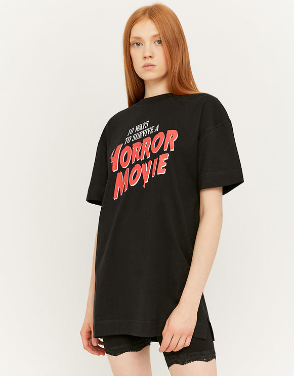 Women's Horror Movie Black Print T-Shirt