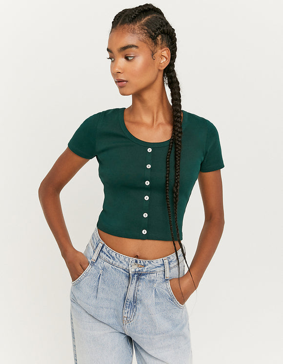 Women's Green Ribbed Top - grn230
