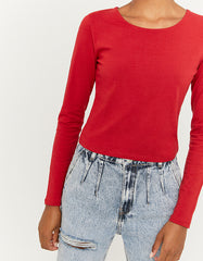 Women's Long Sleeve Red Basic Top
