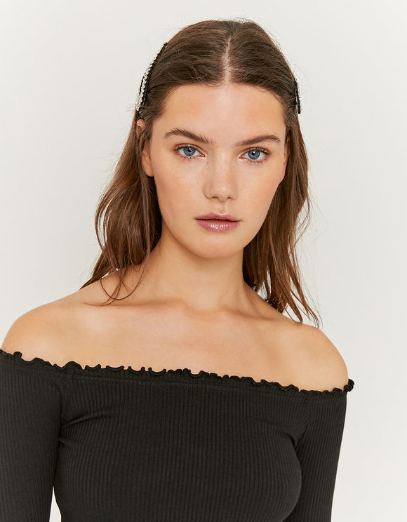 Black Off Shoulders Women's Top
