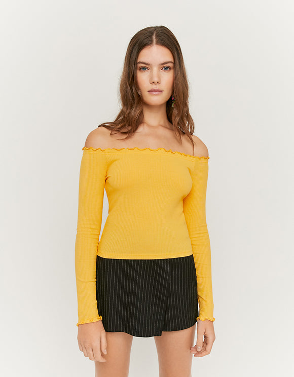 Long Sleeve Yellow Off Shoulders Women's Top