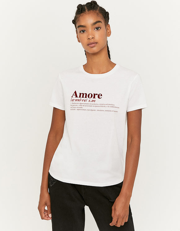 Women's White Printed Amore T-Shirt