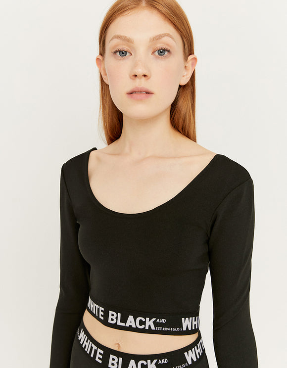 Women's Black Printed Tape Crop Top