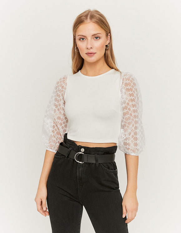 White Puff Mesh Sleeves Top