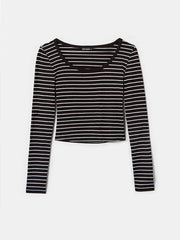 Women's Black Striped Long Sleeves Top - blkwhi001