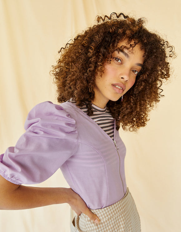 Lilac Zip Cropped Blouse
