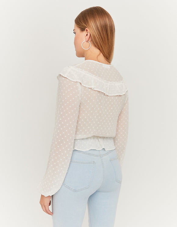 White Cropped Blouse_back
