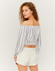 Multi Colour Off Shoulder Striped Cropped Blouse by Tally Weijl