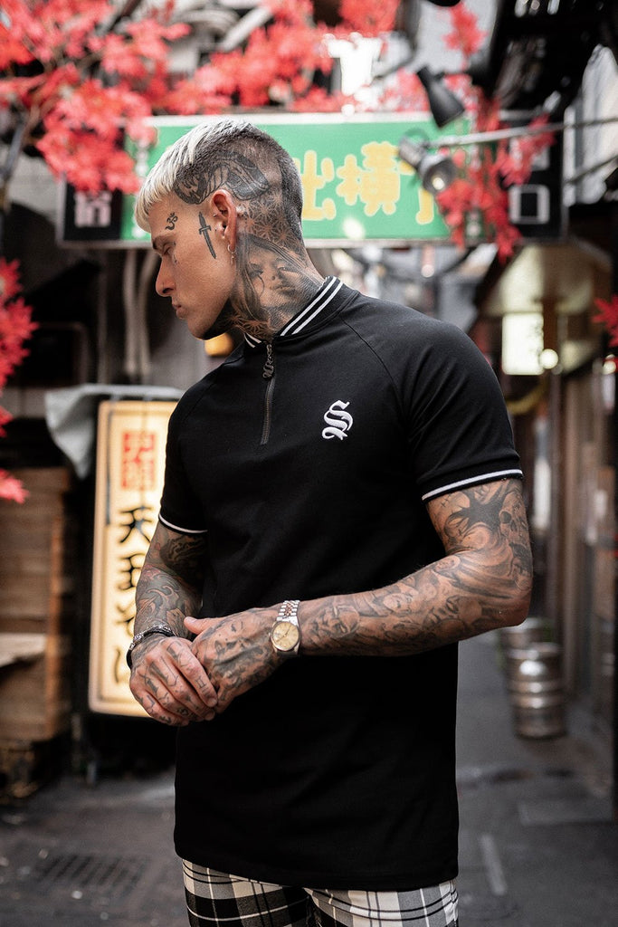 Retro Sport Ringer Black Tee by Sinners