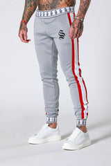Silver Raglan Poly Silver/Red Skinny Fit Side Panels Cuffed Joggers . SIN1106