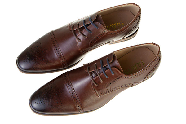 Spencer Mahogany Leather Brogue Style Shoe