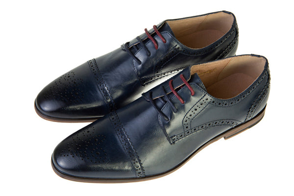 Spencer Navy Leather Brogue Style Shoe