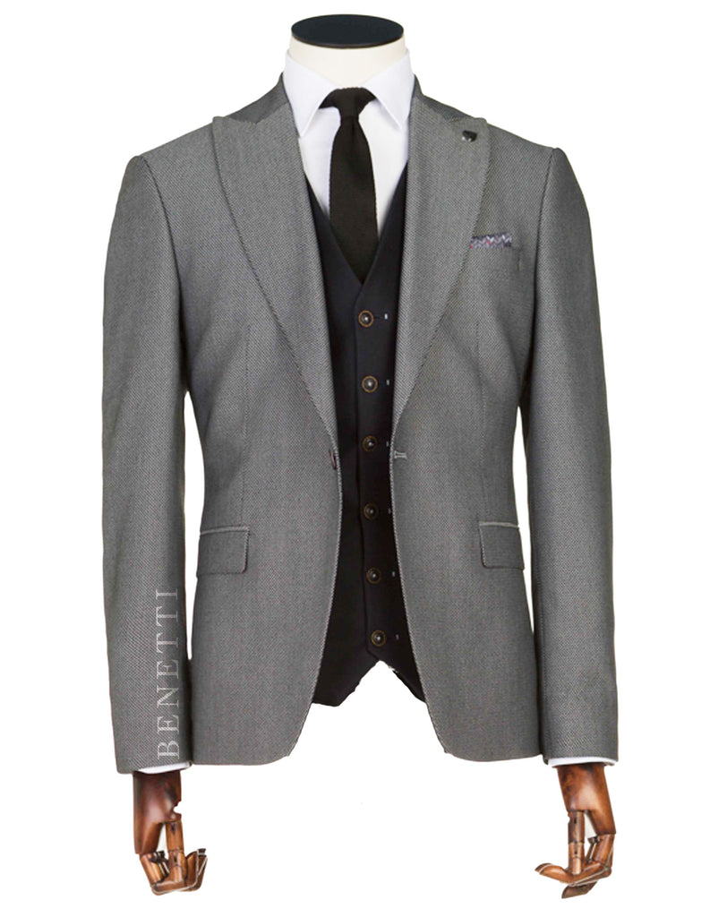 Suarez 3 Piece Tailored Fit Grey Suit By Benetti
