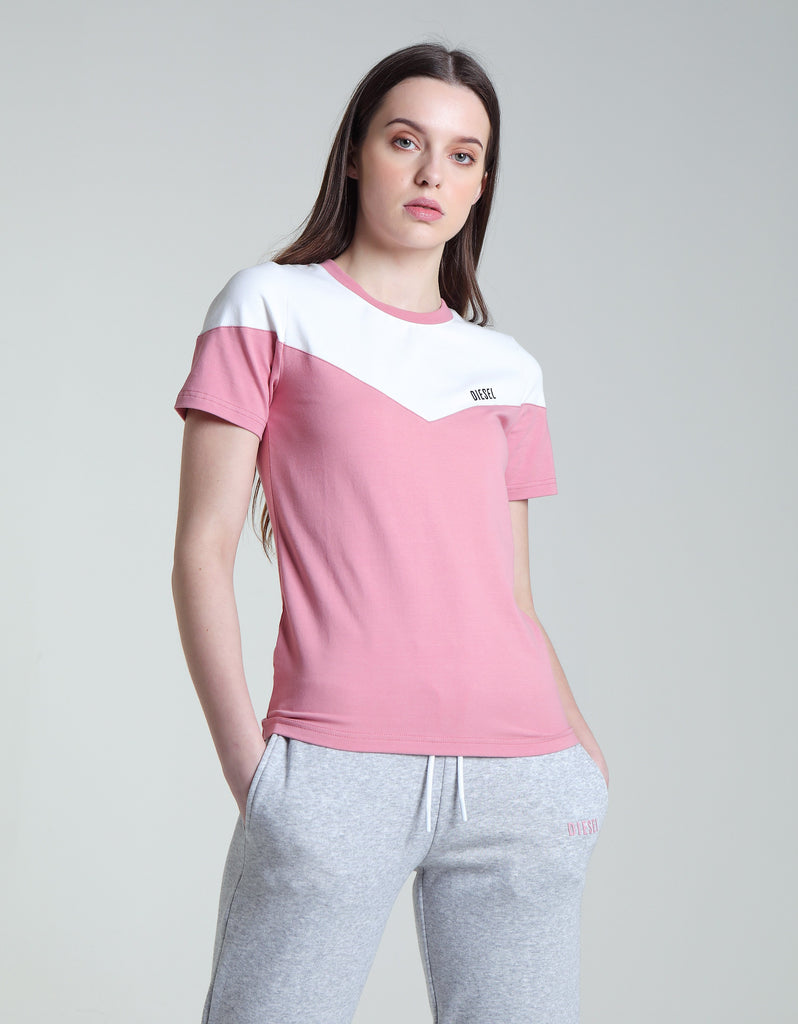 Gem pink & white panel short sleeve Tee