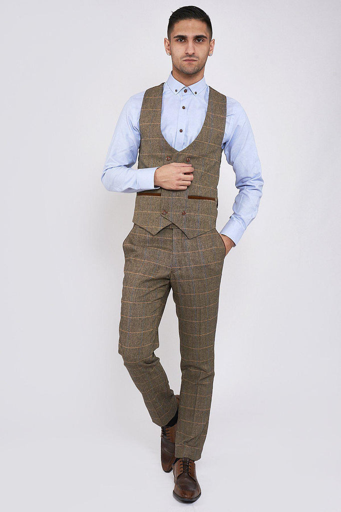 Marc Darcy Ted Tan Tweed Herringbone Double Breasted Waistcoat