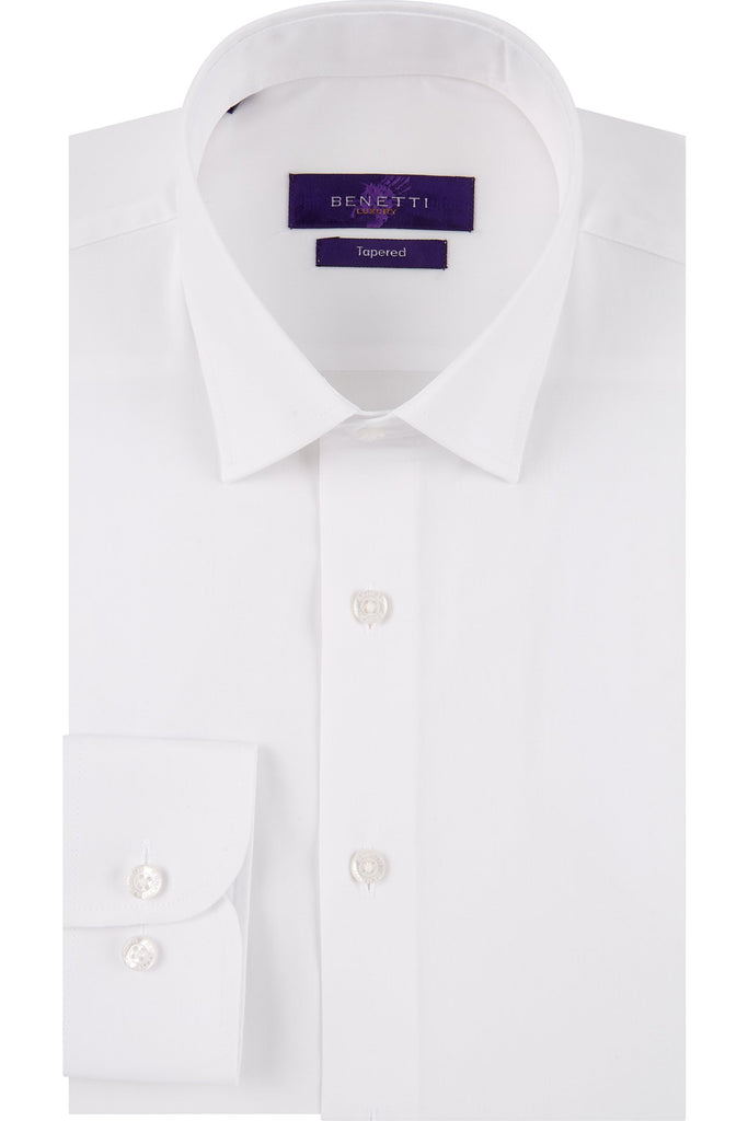 White Tapered Fit Suit Shirt By Benetti