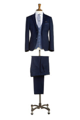 Navy Teddy Three Piece Suit by Travis Benetti