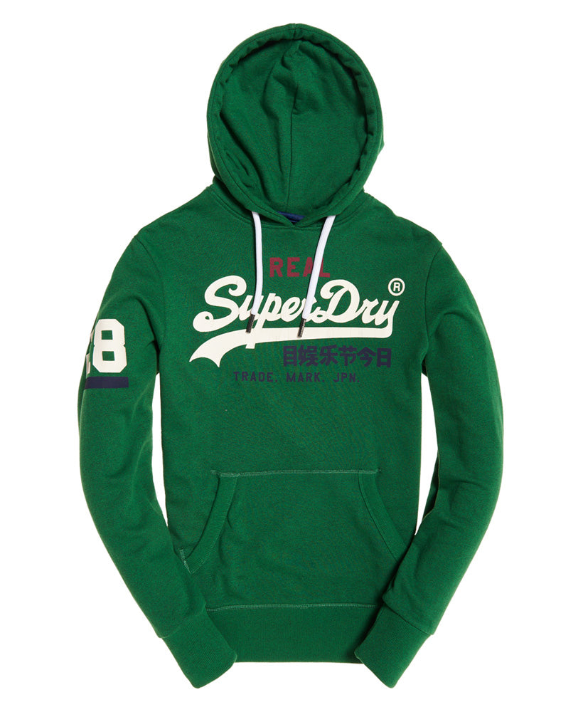 Vintage Logo Bright Mid West Green Tri Hoodie by Superdry