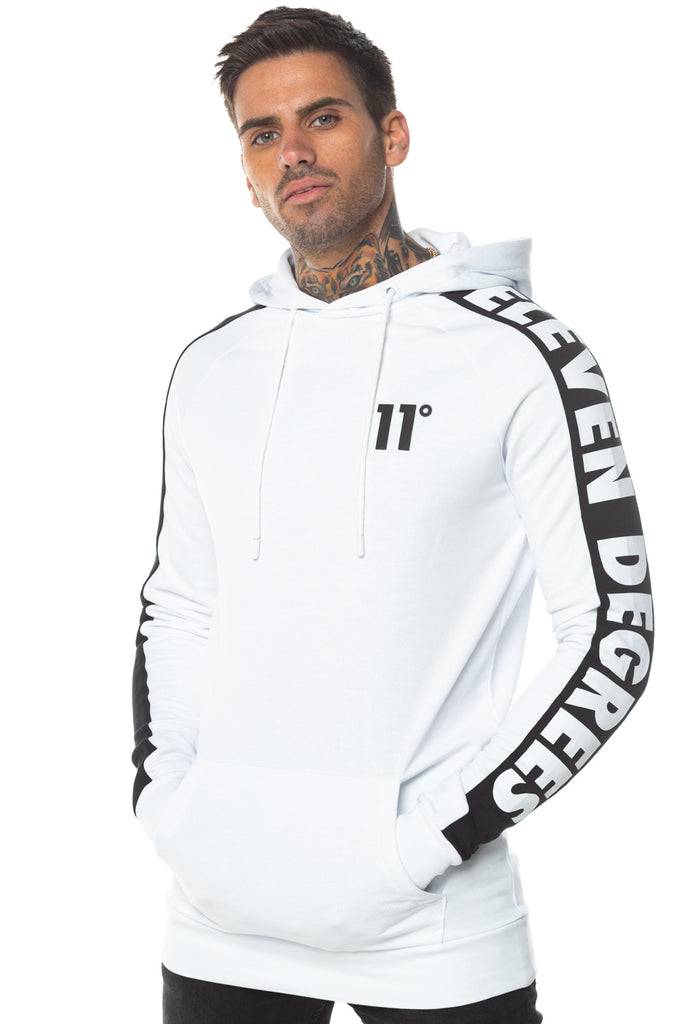 Odin Text White Pull Over Hoodie