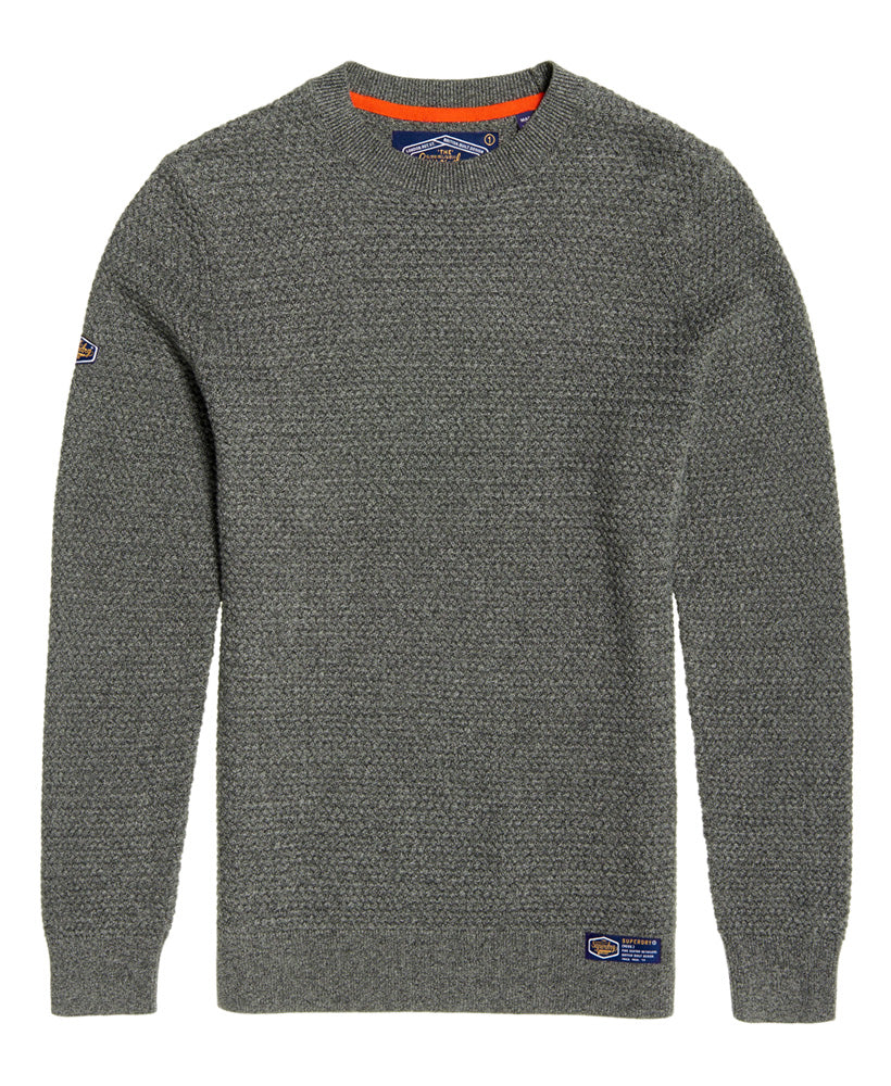 Academy Textured Dark Charcoal Crew by Superdry