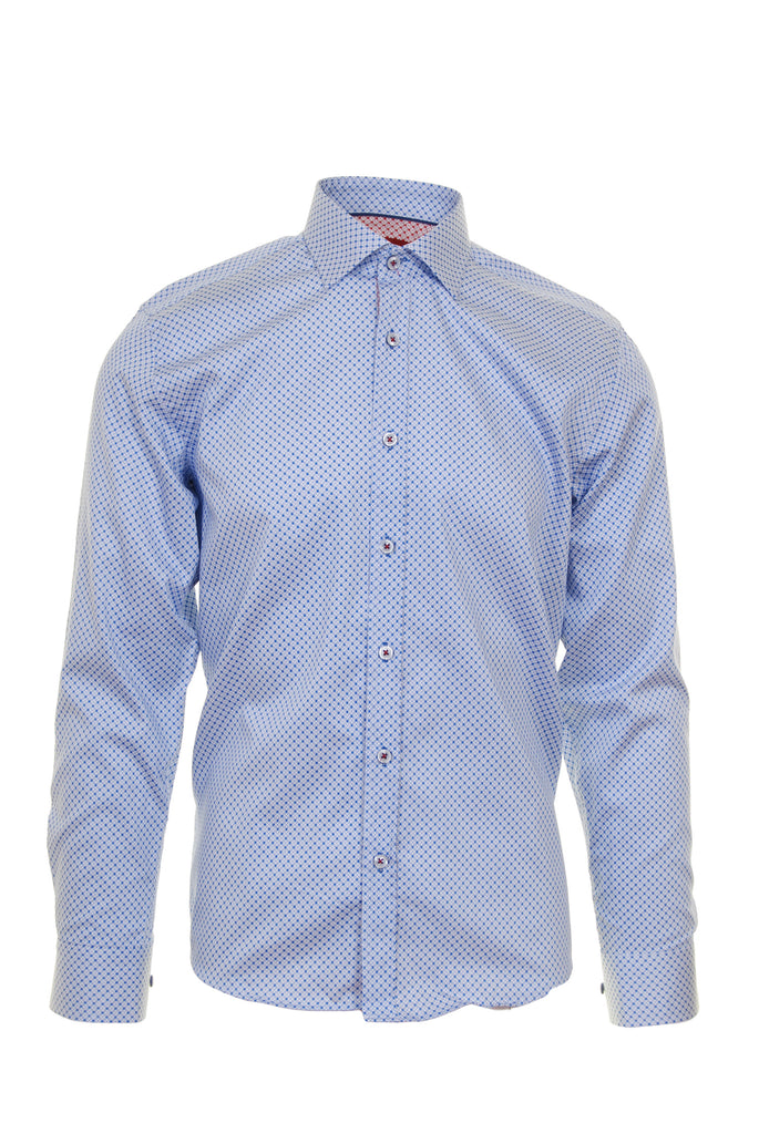 Blue Dot Print Long Sleeve Shirt by Advise