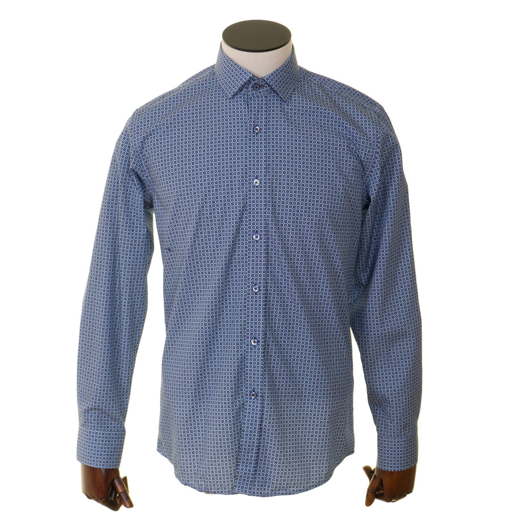 Advise Blue Pattern Tailored Shirt