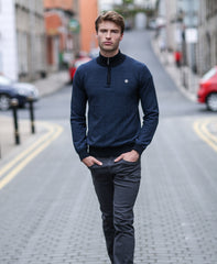 Alfred Zip Jumper by Outrage - Navy