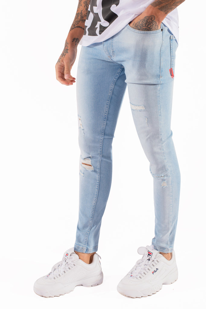 Distressed Stretch Stonewash Skinny Jeans