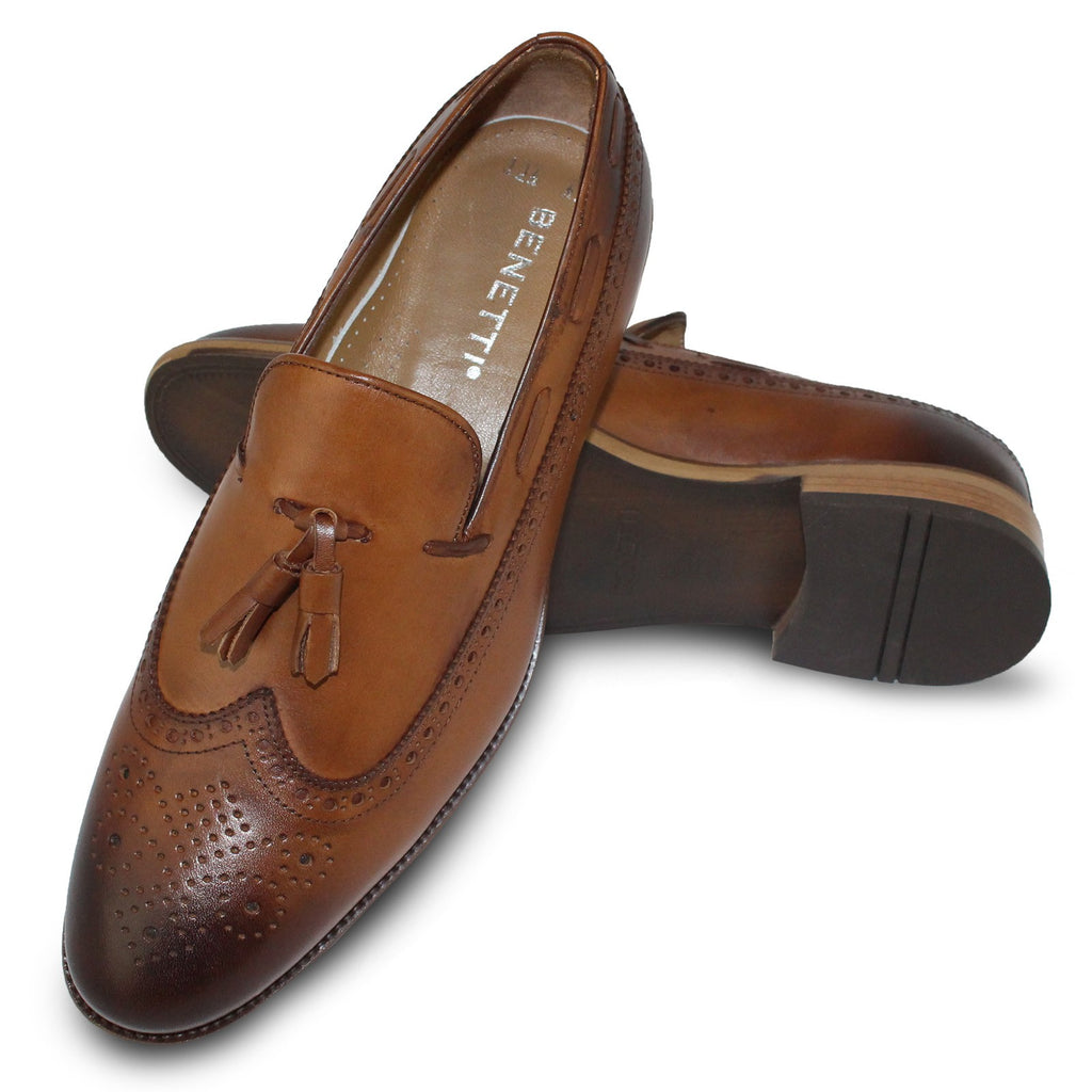 Nut Brogue Loafer Shoe With Tassle Detail By Benetti