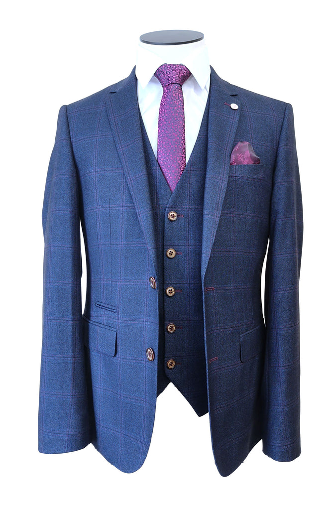 Navy With Pink Check 3 Piece Bill Suit