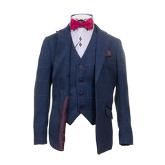 Navy Blue With Pink Detail Boys Suit By Romano