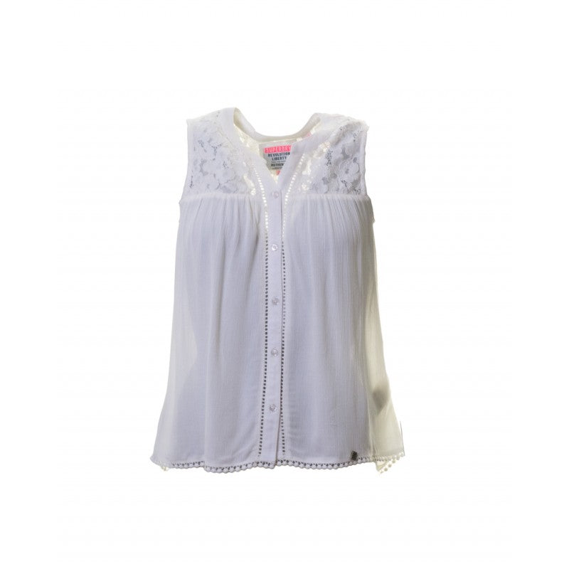 Bobbie Button Cream Blouse by Superdry Womens
