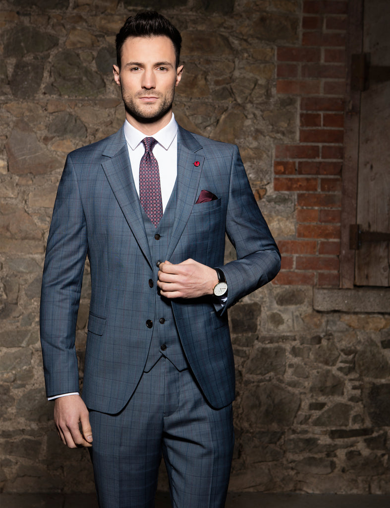 Bonn Ice 3 Piece Benetti Tapered Suit