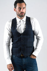 Brad Navy Check Waistcoat With Velvet Contrast By Marc Darcy