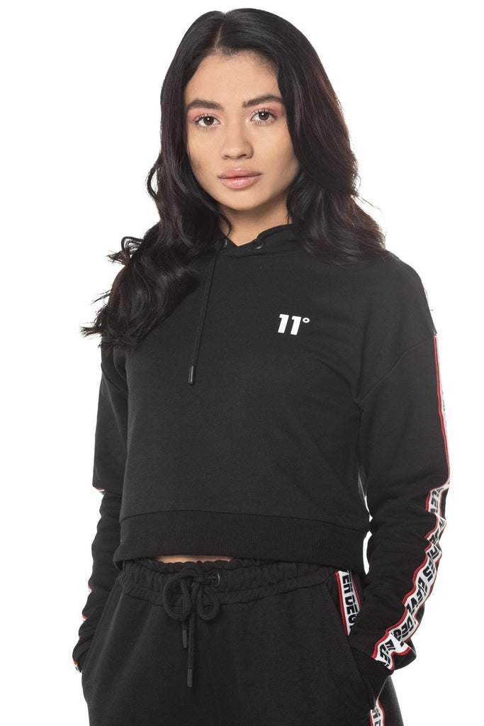Branded Taped Cropped Pullover Hoodie