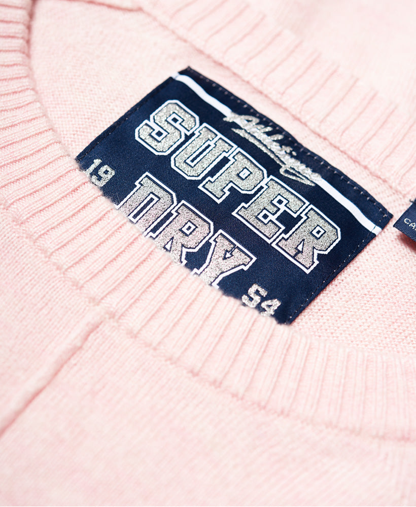 Bria Pink Raglan Knit by Superdry Womens - Neck