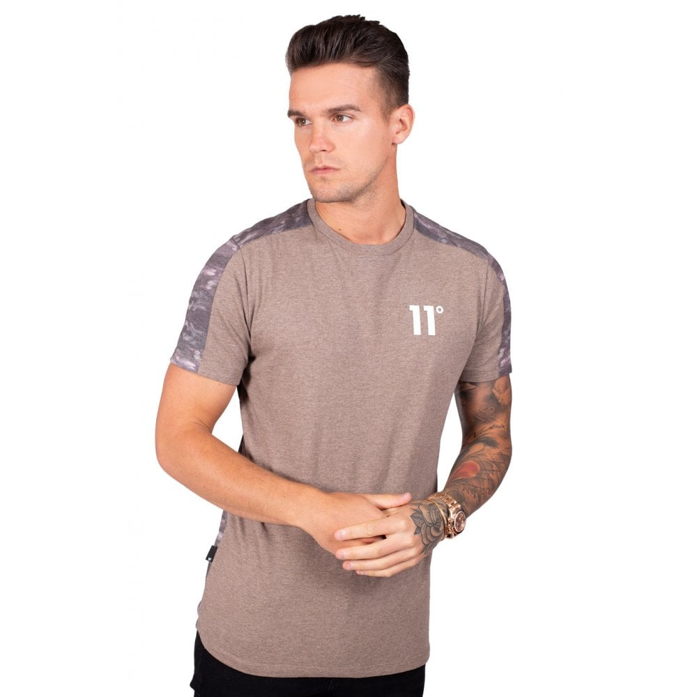 11 Degrees Brown Water Colour Camo Block T-Shirt
