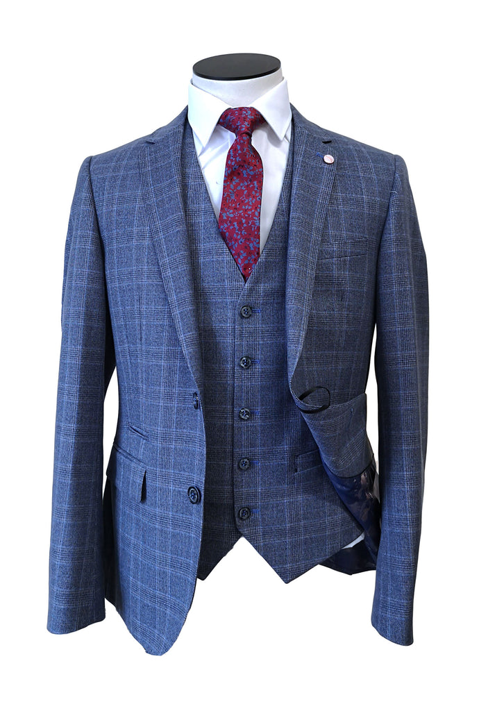 Grey Blue Check 3 Piece by 6th Sense