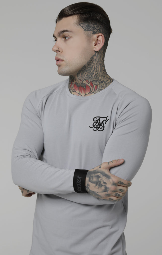 Raglan Gym Long Sleeve Ice Grey Tee by SikSilk