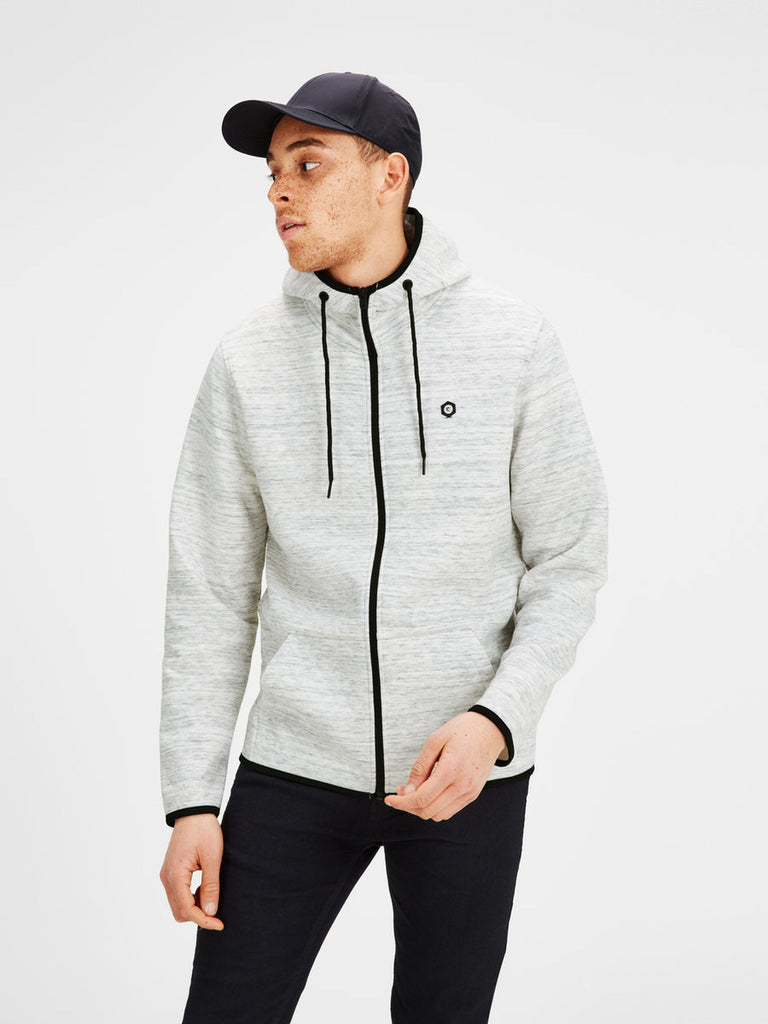 Carbon Zip Quilted Hoodie By Jack Jones Core