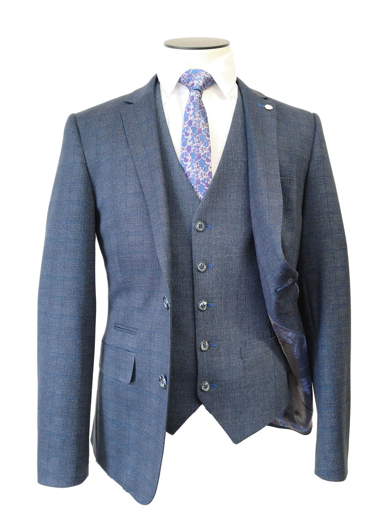Blue Check 3 Piece Carter Suit