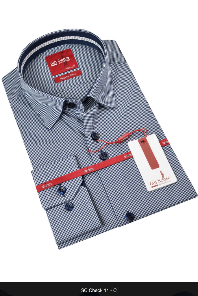 Check Double Collar Navy Check by 6h Sense
