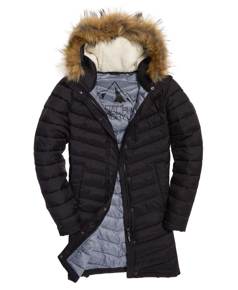 Chevron Black Faux Fur Fuji Jacket by Superdry Womens - Front