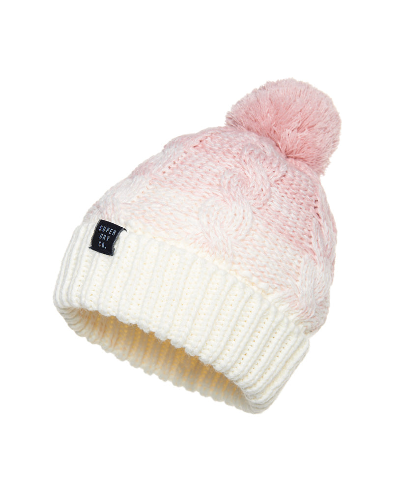 Clarrie Cable Pink Ombre Beanie by Superdry Womens