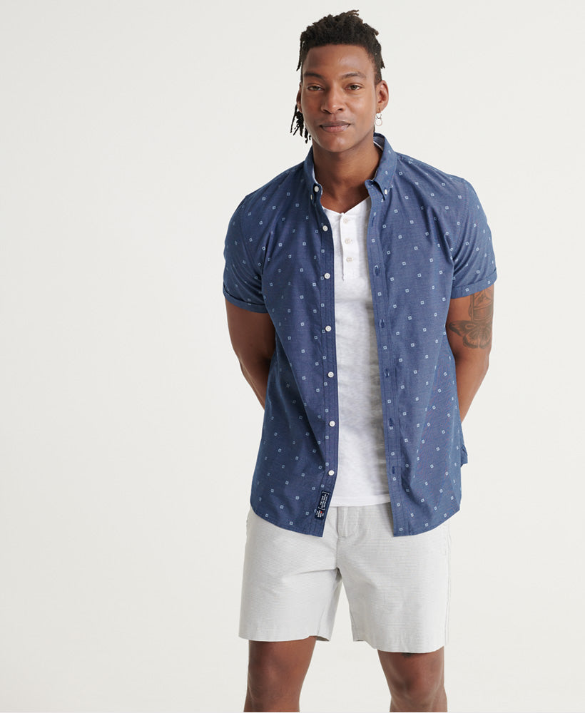 Classic Shoreditch Blue Ditzy Print Short Sleeved Shirt