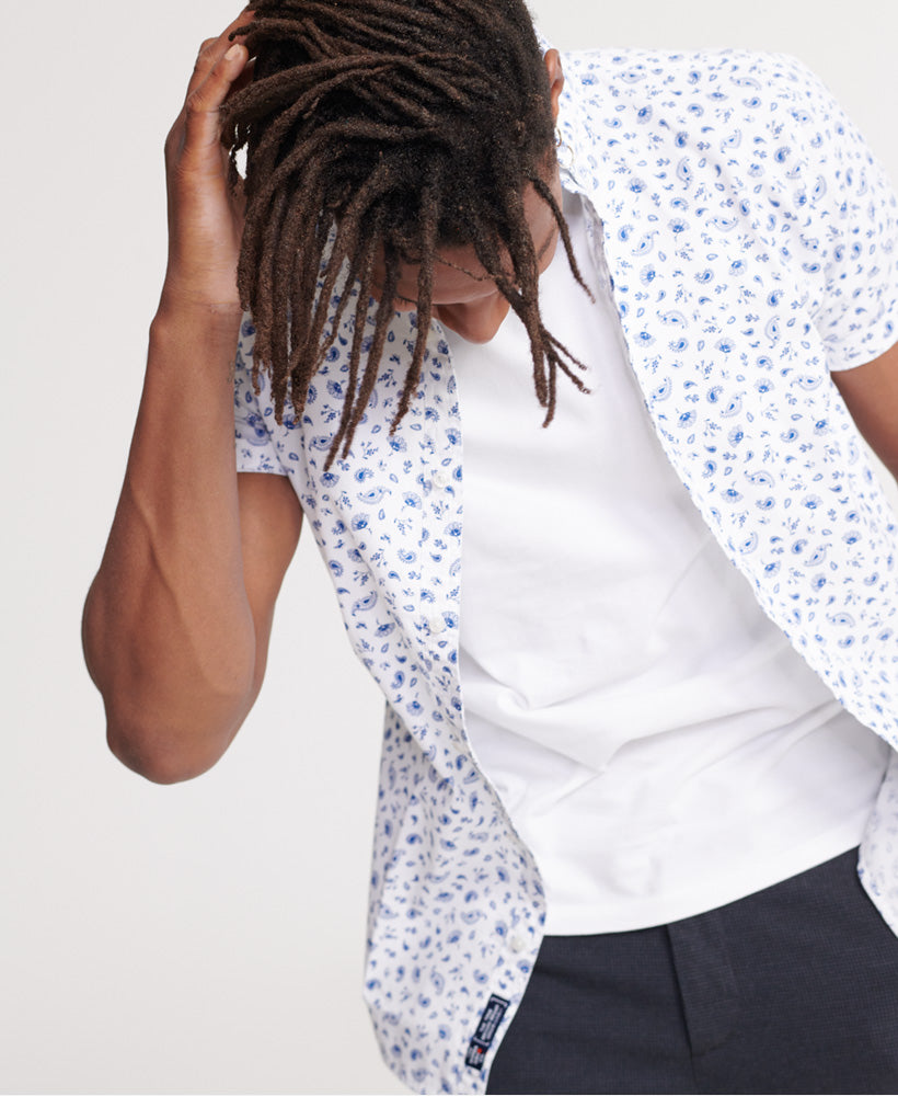 Classic Shoreditch Optic Print Short Sleeved Shirt front