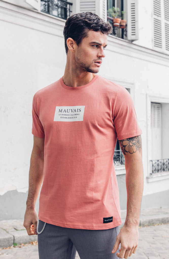 Coral Box Logo Short Sleeve Tee by Mauvais